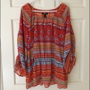 Style & Co XL Tunic Sheer Studded 3/4 Sleeves Top
